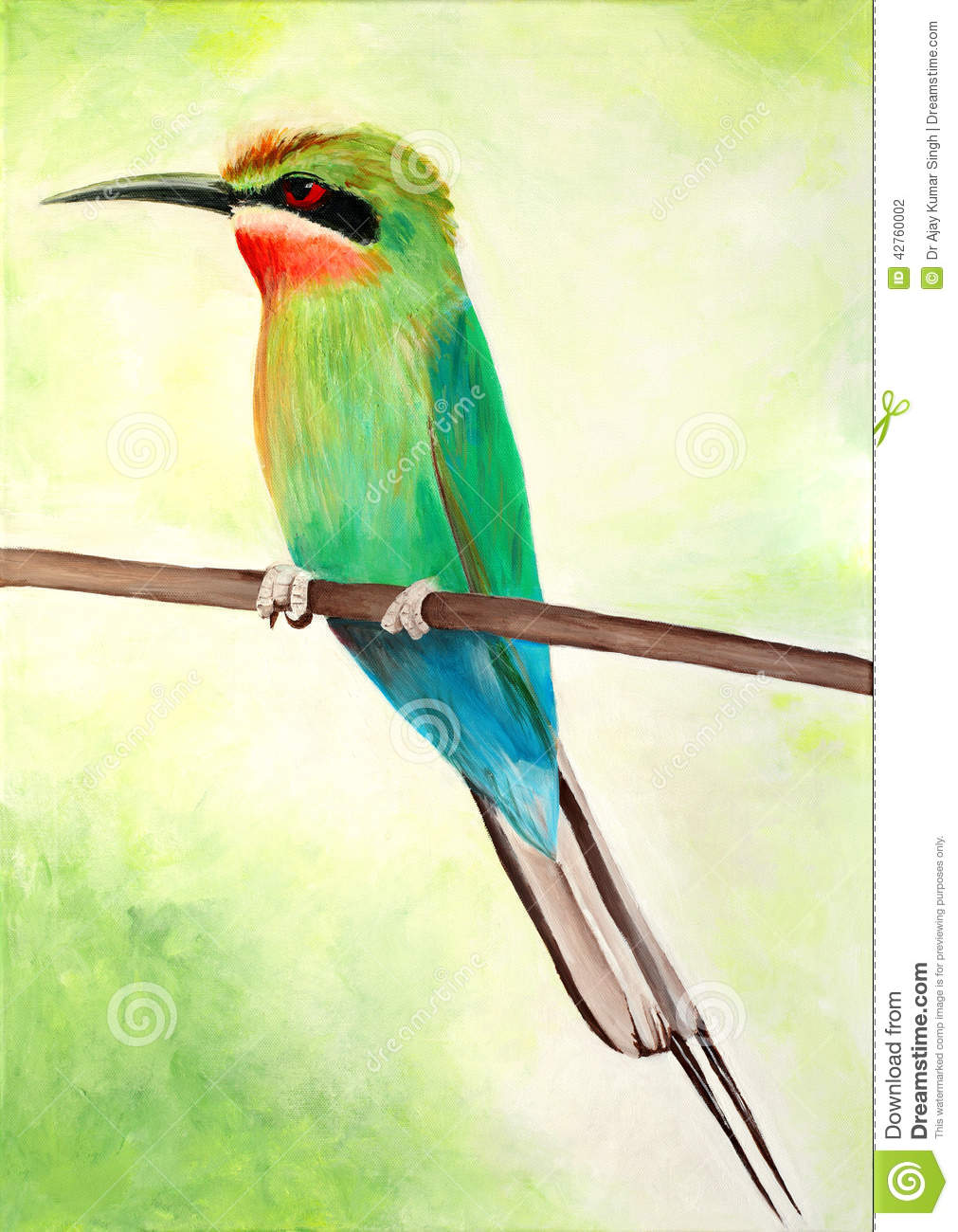 Original Painting Of A Beautiful Blue Tailed Bee Eater Stock.
