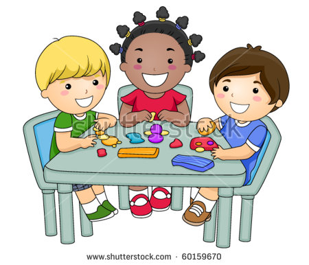 Small Group Kids Creating Different Figures Stock Vector 60159670.