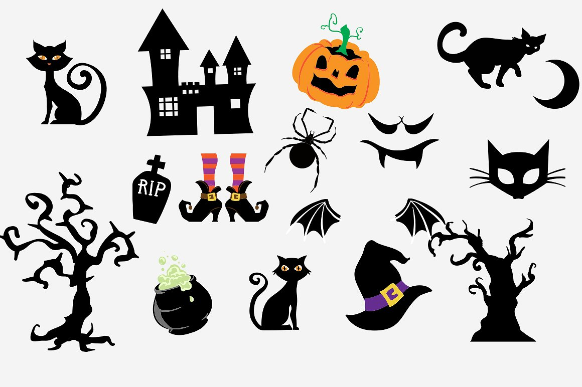 Halloween Clipart bundle 82 elements Eps and PNG.