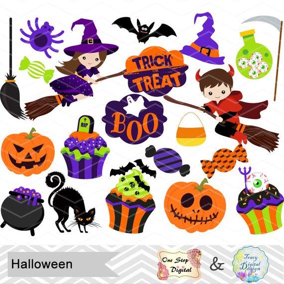 Instant Download Halloween Clipart, Halloween Digital Clip.