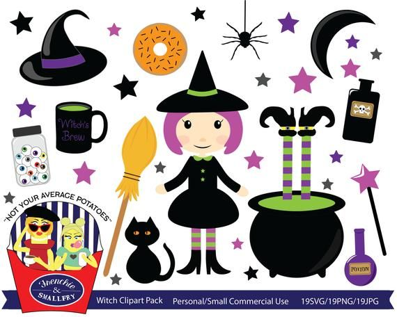 Witch Clipart Pack, Halloween Witch, Halloween Clipart, Free.