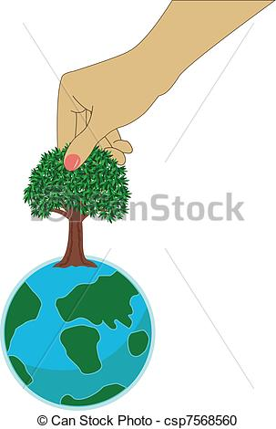 Vector Clipart of Small earth with hand.