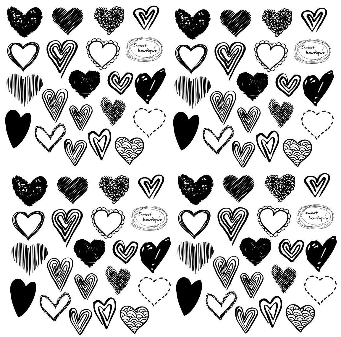 Small Hearts Cliparts Black And White.
