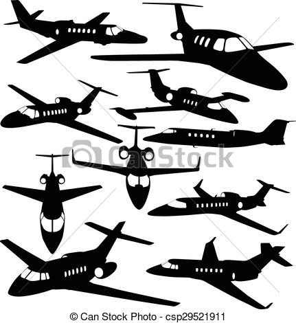 Vector Clip Art of Silhouettes of private jet.