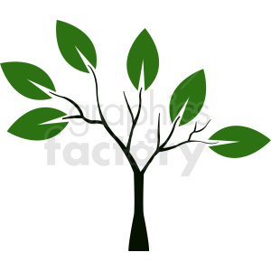 small tree with large leaves clipart. Royalty.