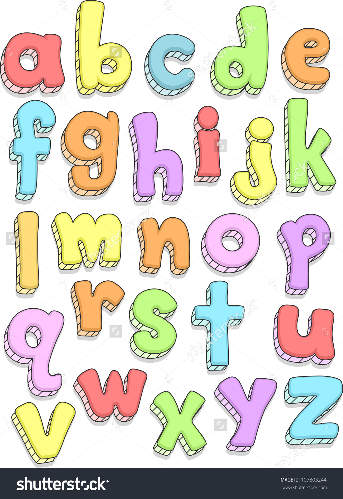 Doodle Illustration Featuring The Small Letters Of Alphabet