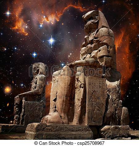 Stock Image of Colossus of Memnon and Small Magellanic Cloud.