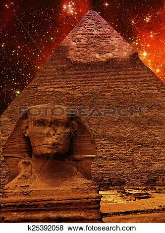 Pictures of Sphinx, Pyramid of Khafre and small Magellanic Cloud.
