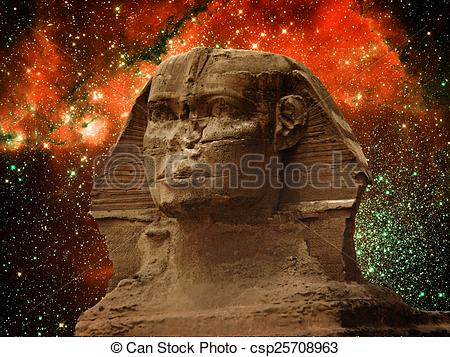 Stock Image of Sphinx and small Magellanic Cloud (Elements of this.