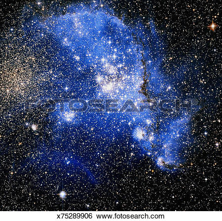 Stock Images of Small Magellanic Cloud galaxy, satellite view.