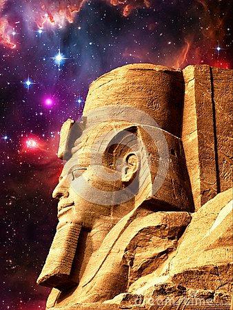 Statue Of Ramses II In Abu Simbel And Small Magellanic Cloud (El.