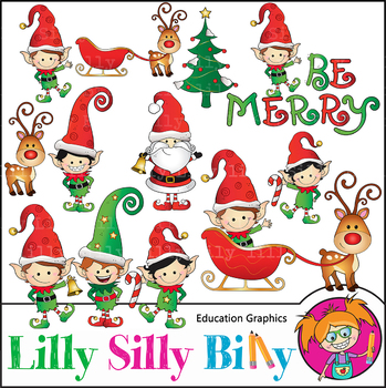 Be Merry, Christmas Clipart. Set. {Lilly Silly Billy}.