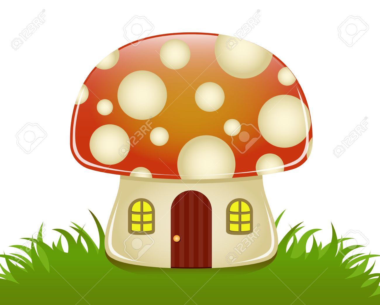 Glossy Illustration Of A Small Mushroom House Royalty Free.