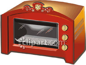 Fancy Red Toaster Oven Royalty Free Clipart Picture.
