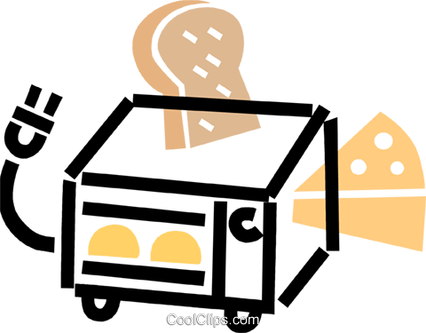 small oven with cheese and bread Royalty Free Vector Clip Art.