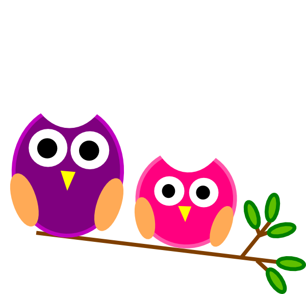 Big And Little Pink And Purple Owls Clip Art at Clker.com.
