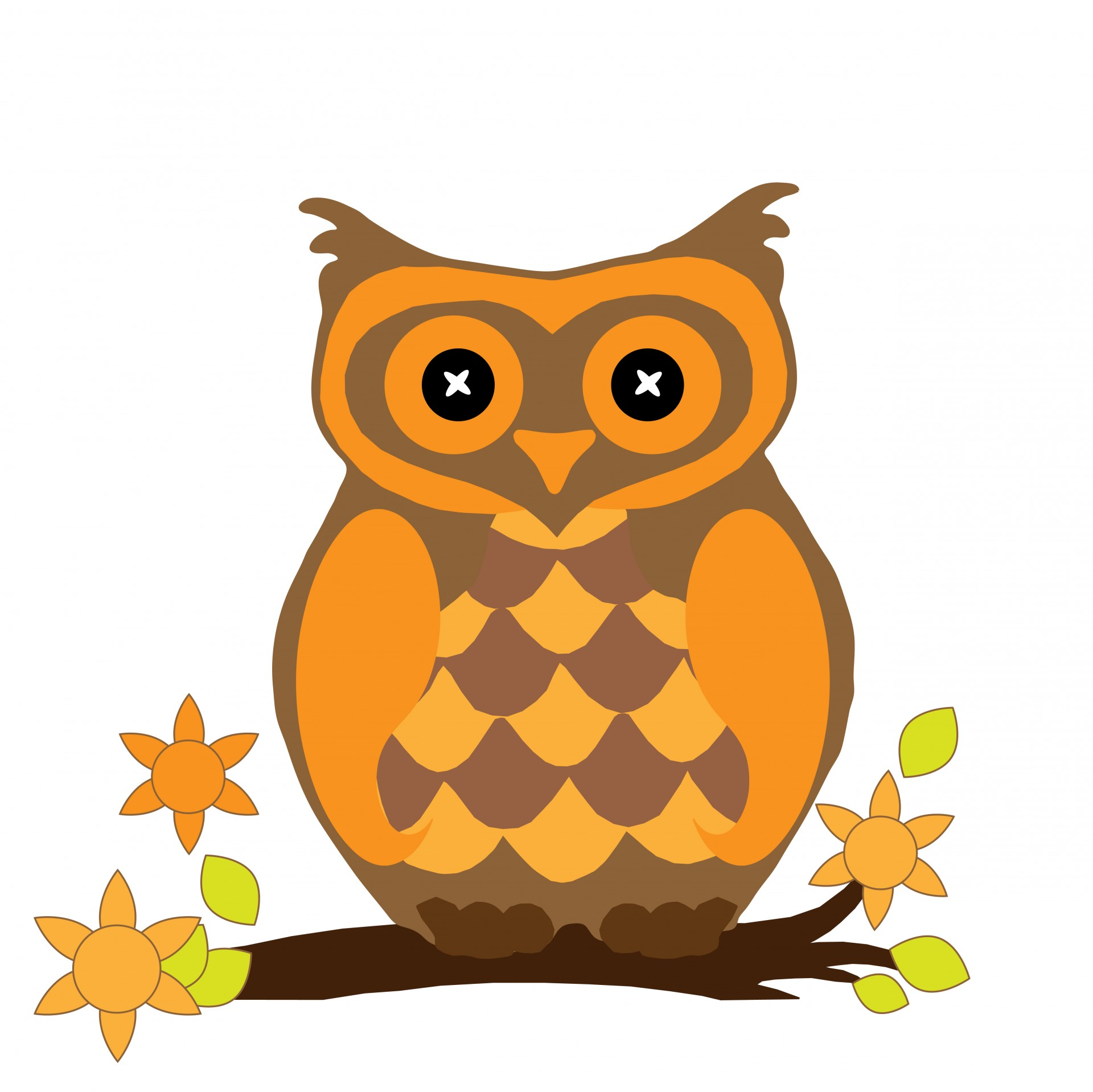 Small Fall Owls Clipart.