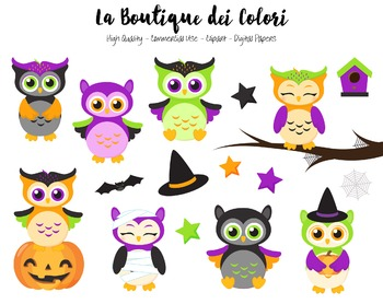Halloween Owls Clipart.