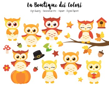 Fall Owls Clipart.