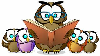 Cartoon Owl Reading To Small Owls Clipart.