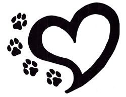paw prints and heart tattoo.