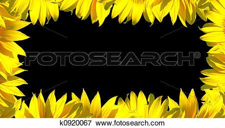 Stock Illustration of Small petals frame on black k0920067.
