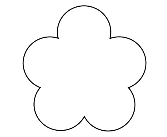 5 petal flower pattern template #3