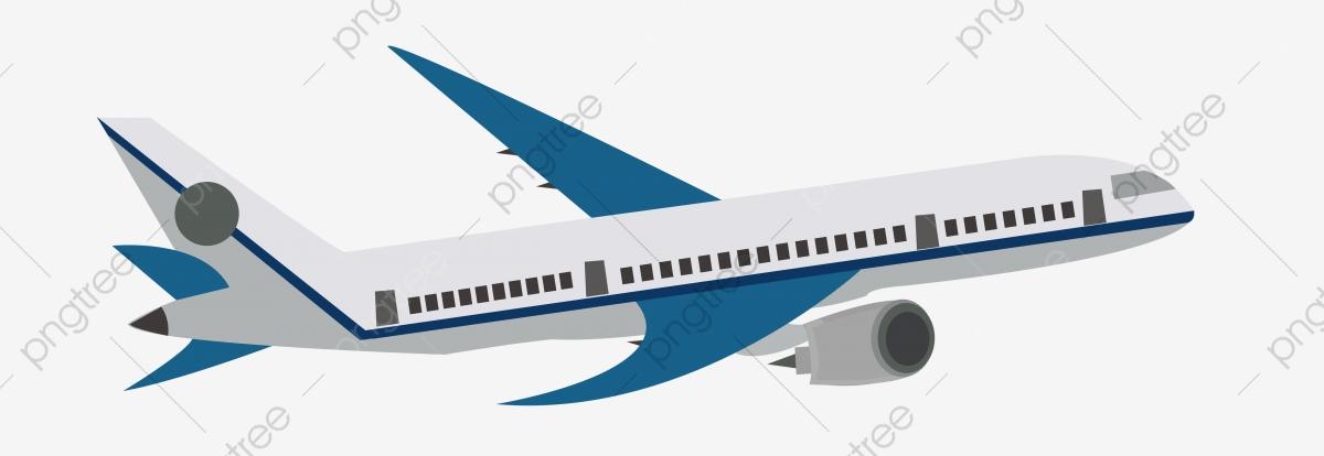 Cartoon Airplane Small Plane Blue Flight, Transportation.