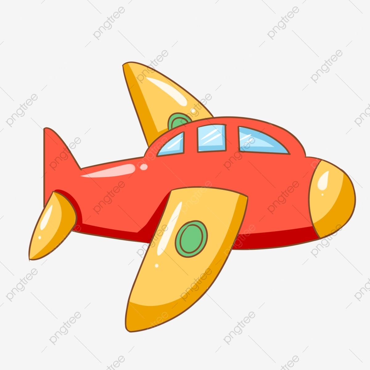 Red Red Plane Small Plane Cartoon Airplane, Airplane.