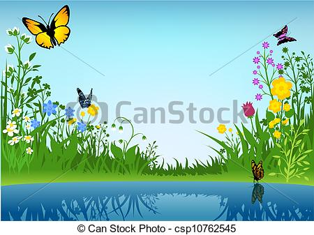 EPS Vector of Small Lake and Butterflies.
