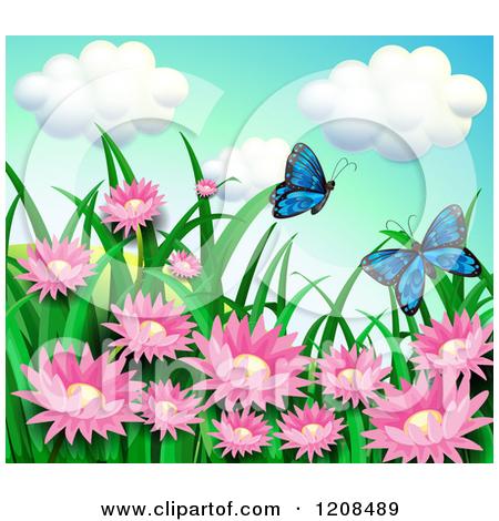 Cartoon of Blue Butterflies Pollinating Pink Flowers.