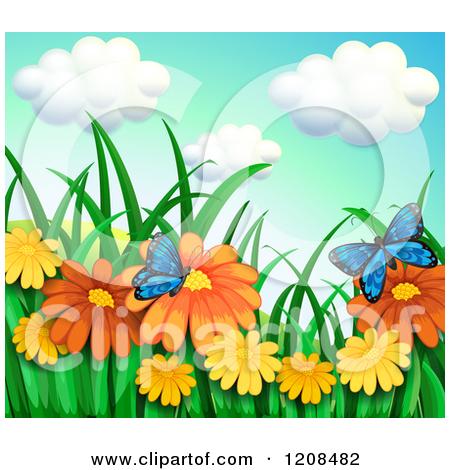 Cartoon of Blue Butterflies Pollinating Orange Daisy Flowers.