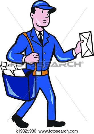 Clip Art of Mailman Postman Delivery Worker Isolated Cartoon.