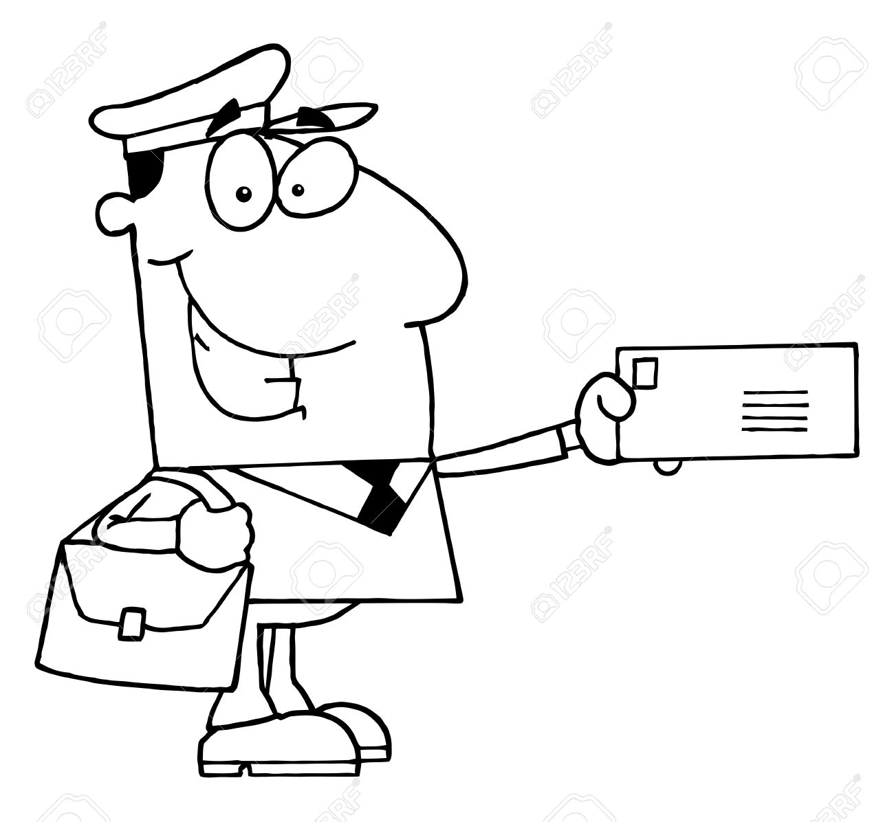 Clipart Illustration Of An Outlined Mail Man Royalty Free Cliparts.