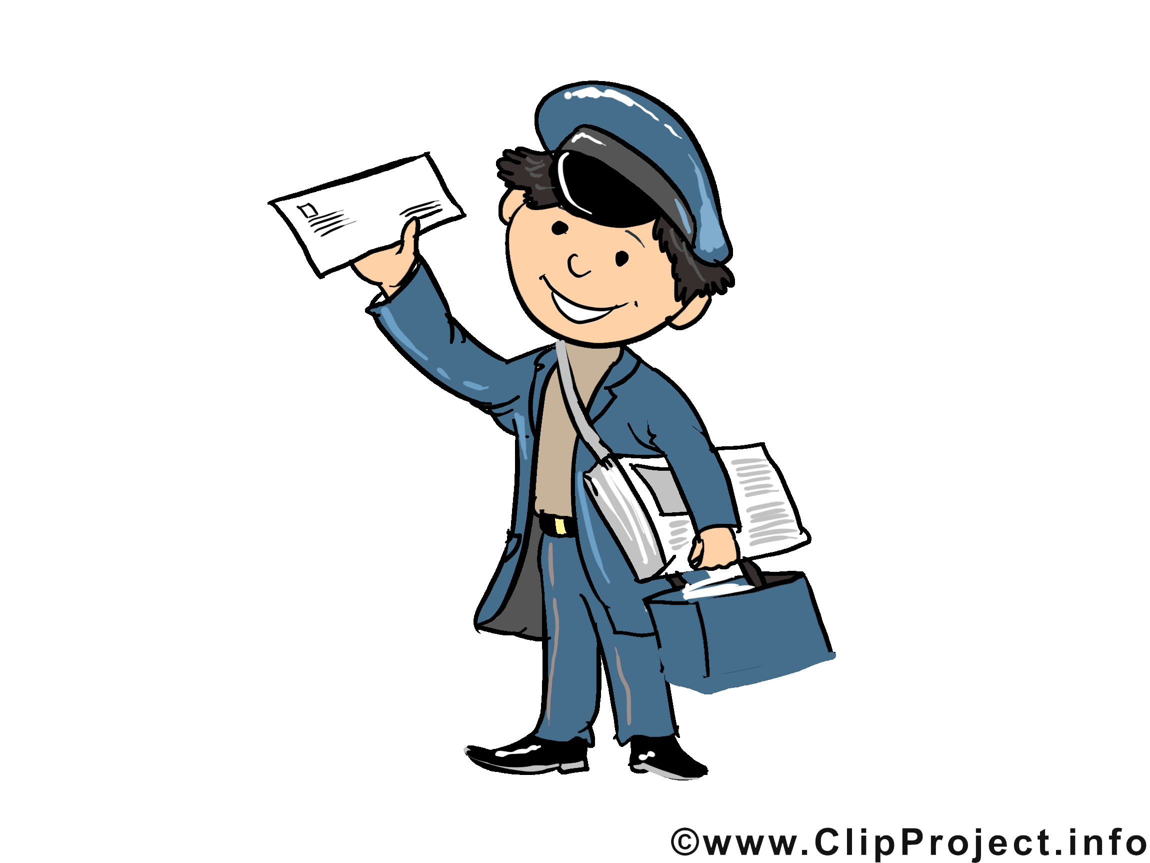 Postbote Bild, Cartoon, Illustration, Clipart.