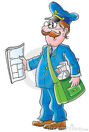 Cartoon Mail Postman Stock Illustrations.
