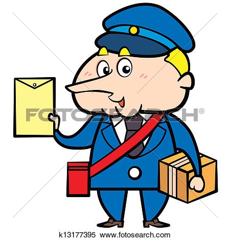 Clipart of Cartoon Postman with Letter and Package k13177395.