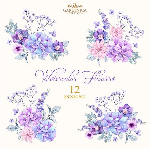 Purple Flowers Watercolor, Succulents Watercolor, Purple.
