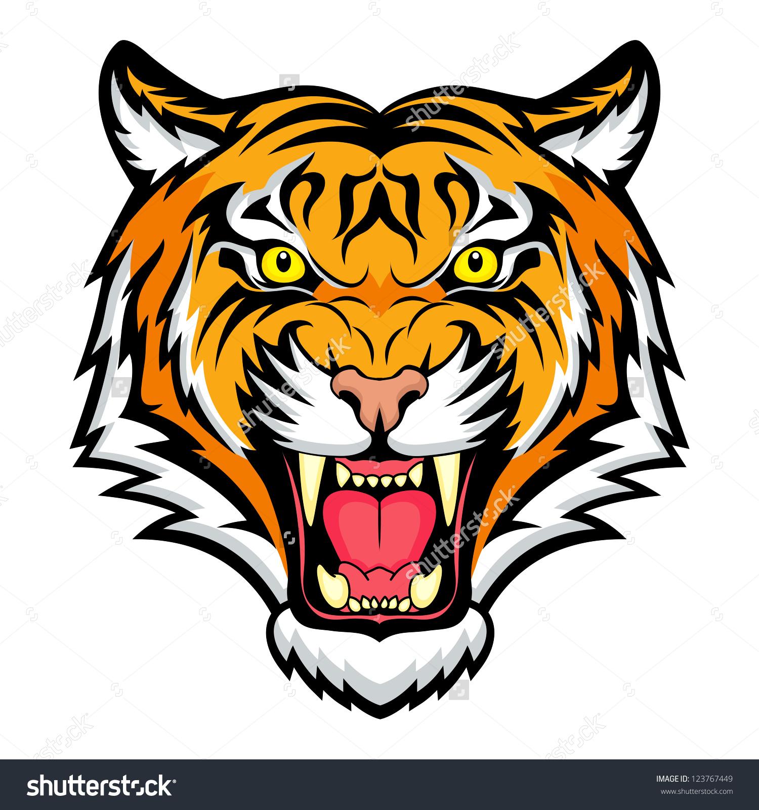Tiger Anger Vector Illustration Tiger Head Stock Vector 123767449.