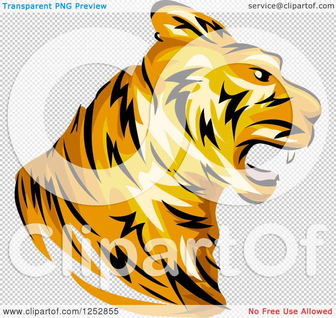 Clipart of a Roaring Tiger Head in Profile.