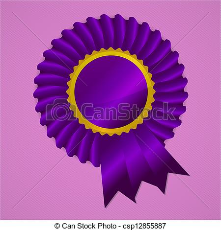 Clipart Vector of Red award ribbon rosette on gold background.