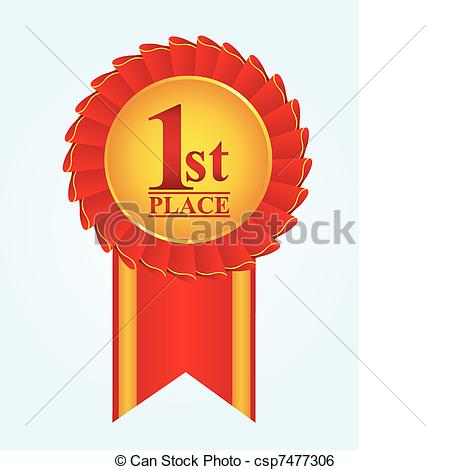 Clip Art Vector of rosette first place.