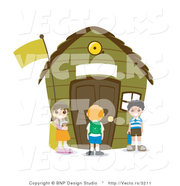 Vector of Young Happy Kids Standing Outside a Small School House.