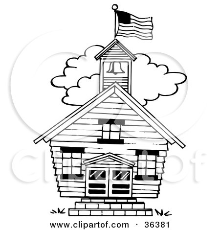 Clipart Illustration of a School House, Book Worm, Chalk And.