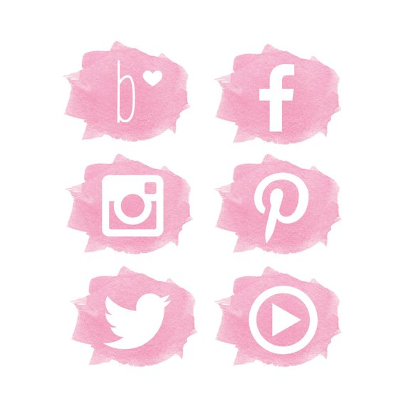 Social Media Icons // Watercolor Social Media Icons // Pink.