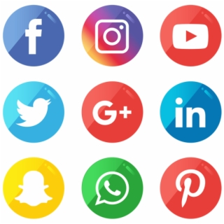 Black And White Social Media Icons Png.