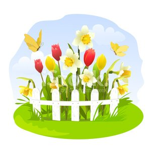 Spring Flowers IN A Small Garden premium clipart.