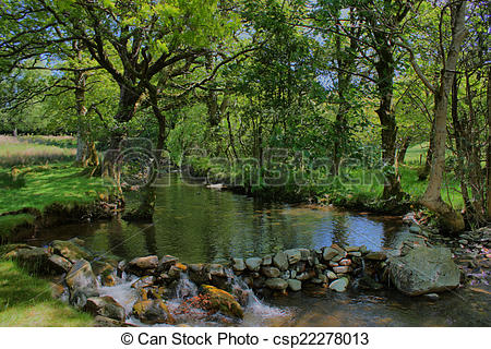 Stock Photography of stone dam acoss a small stream in a wooded.