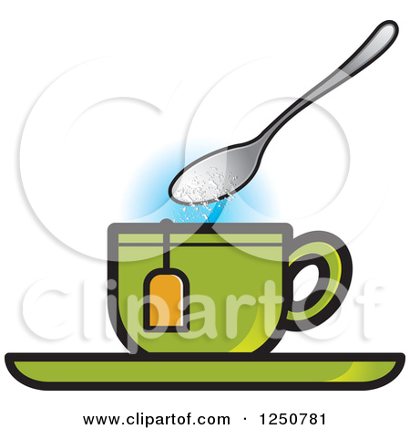 Clipart of a Spoon Dropping Sugar into a Green Tea Cup.