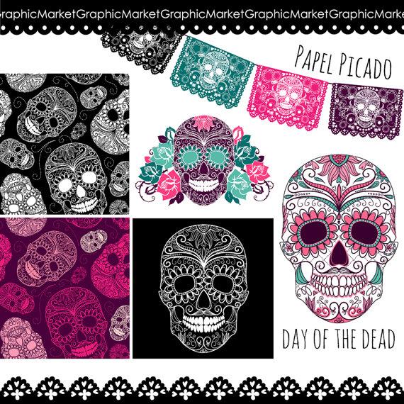 Sugar Skull Digital Pictures, Day of the Dead Clip Art, digital.